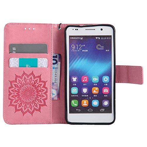 Für Huawei Hornor 6 Fall, Prägen Sonnenblume Magnetisches Muster Premium Weiche PU Leder Brieftasche Stand Case Cover mit Lanyard & Halter & Card Slots ( Color : Rose Gold ) Pink
