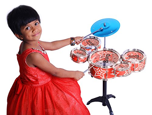 Kurtzy Big Band Drum Set with Chair Musical Toy Instrument for Kids (5 Pc) (Red)  available at amazon for Rs.999