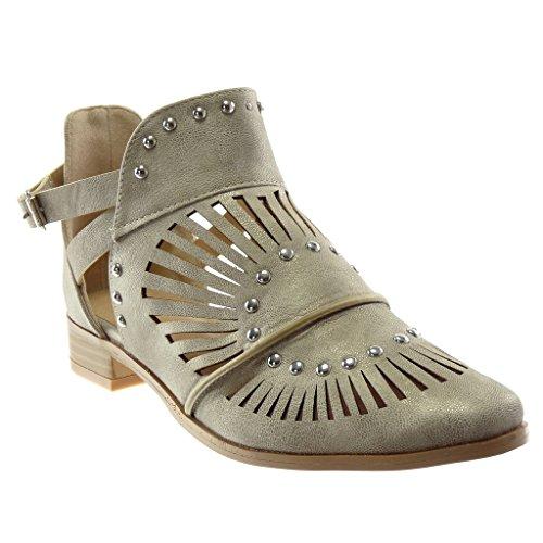 Angkorly - Damen Schuhe Stiefeletten - Offen - knöchelriemen - Nieten - besetzt - Perforiert - gekreuzte Riemen Blockabsatz 3 cm - Beige 151-91 T 39