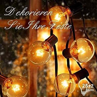 ACGAM G40 Cadena de Luces,25Ft Cadena de Bombillas,25+2 Bombillas Impermeable Guirnaldas Luminosas para Interior, Exterior,Dormitorio,Partido,Decoraciones,Navidad[Clase de eficiencia energética A+++]