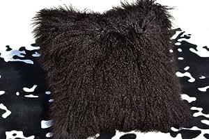 Housse de coussin laine de Mongolie-brun