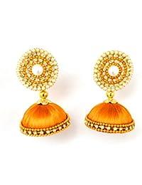 Floret Jewellery Golden Silk Thread Jhumki Earrings For Women & Girls