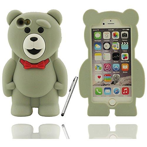 Effacer design à la mode mignon ours en peluche Shape Soft Cover Etui Coque de protection case pour Apple iPhone 6 / 6S 4.7 inch avec Touch stylet de l'écran gris