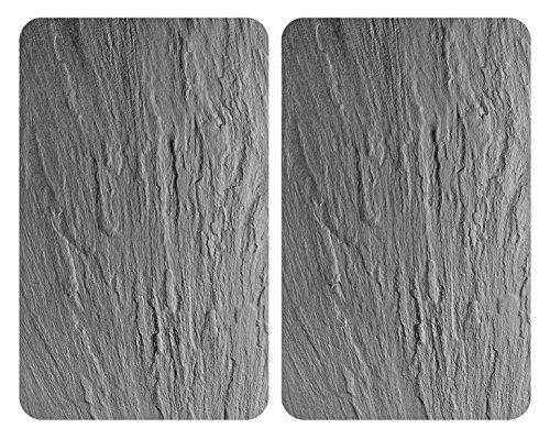 WENKO 2521480100 Protège-plaque universel Ardoise - lot de 2, pour tous les types de cuisinières, Verre trempé, 30 x 52 cm,...
