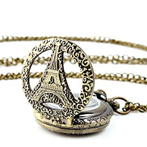 Yesurprise Montre à Gousset Pendatif de Poche Bronze A0012 La Tour Eiffel