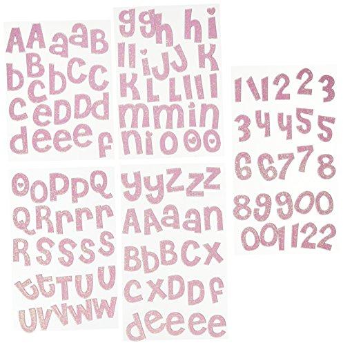 g Ideas Alpha Chips Designer Spanplatten Brief Aufkleber, Alphabet, Cheri Light Pink Glitzer ()