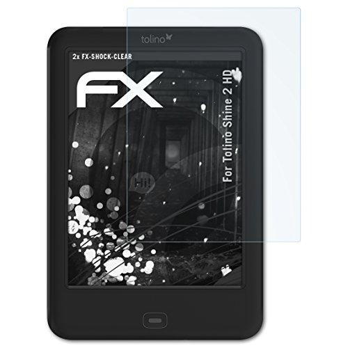 atFolix Schutzfolie kompatibel mit Tolino Shine 2 HD Panzerfolie, ultraklare und stoßdämpfende FX Folie (2X) - Shine Waschen