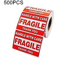 Etiqueta adhesiva de advertencia autoadhesiva de caja externa 500 PCS Etiqueta frágil, Tamaño: 76x51 mm, El embalaje conveniente