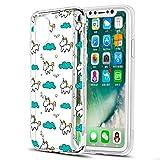 Eouine Coque iPhone XS, Coque iPhone X, Etui en Silicone 3D Transparente avec Motif Peinture [Anti Choc] Housse de Protection Coque pour Téléphone Apple iPhone XS/X - 5,8 Pouces (Licorne)