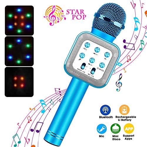 ShinePick Microphone Karaoke sans Fil, Micro Karaoké avec LED Lumière Disco pour Enfants/Adultes Chanter, Compatible avec Android/iOS/PC/Smartphone (Bleu)