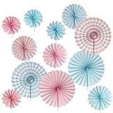 INHEMI 12 x Papier Fächer Set, Pompoms Tissue Blumen, Hängende Deko für Geburtstag Babyparty Hochzeit Neujahr Baby Dusche(Blau/Rosa)