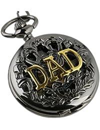 Bolsillo Mecánico Caja del Reloj Esqueleto Negro Regalo Antiguo DAD Hueco Fob Oro