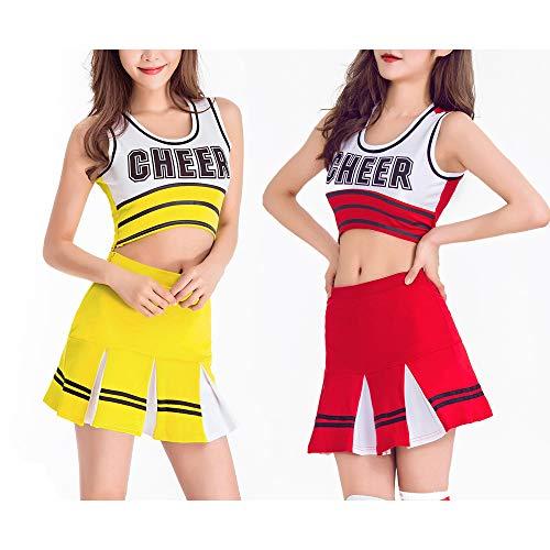 ZLU Mädchen Cheerleader Kostüm Uniform Cheerleading Team Fußball Jubel Service Hilfe Service Musik Party Halloween Kostüm Party Performance Uniform (Jubel Kostüm Kinder)