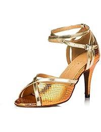 T.T-Q Zapatos de Baile para Mujer Samba Cuero sintético Tacón de Aguja Púrpura Azul Amarillo Sandalias Latinas...