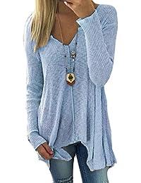 Damen Pullover V-Ausschnitt Sweater - Frauen Oberteile Langarm Shirt Jumper Strickpullover Unregelmäßiger Tops Strickpulli Herbst und Winter Sweatshirt hibote