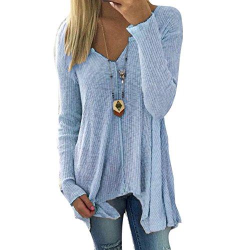 Damen Pullover V-Ausschnitt Sweater - Frauen Oberteile Langarm Shirt Jumper Strickpullover Unregelmäßiger Tops Strickpulli Herbst und...