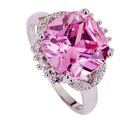 YAZILIND Frauen-Silber überzogene Band-Hochzeits-Rosa-Kristallring-Geschenk für Lady - Hochzeit-band-ring Frauen Für