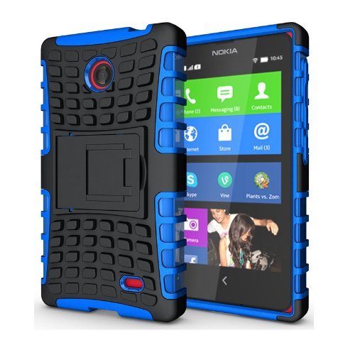 Heartly Flip Kick Stand Hard Dual Armor Hybrid Bumper Back Case Cover For Nokia X X+ Dual Sim Plus Android A110 - Blue  available at amazon for Rs.399