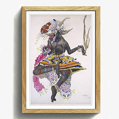 BIG Box Art Leon Bakst Kostüm Design Nr. 5,1cm Gerahmter Kunstdruck mit schwarzem Rahmen, Mehrfarbig, 62x 45cm/24,5x 18/a2-p, Holz, Eiche, 62 x 45 cm/24.5 x - Bakst Kostüm Designs