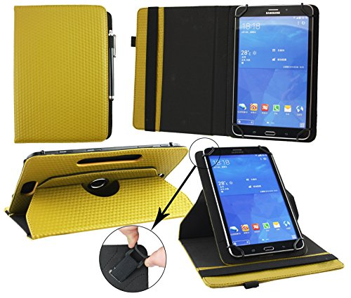 Emartbuy® Excelvan BT-1077 10.1 Pulgada Tablet PC Universal ( 9 - 10 Pulgada ) Padded Design Dark Mustard 360 Grados Soporte Giratorio Folio Carcasa Wallet Case + Negro Lápiz Óptico