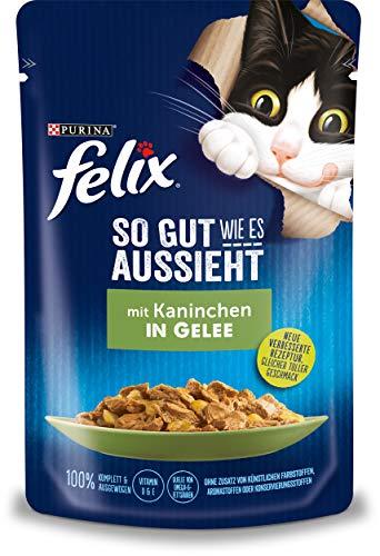 Felix Katzennassfutter So gut wie es aussieht in Gelee mit Kaninchen 24 x 85 gr Portionsbeutel