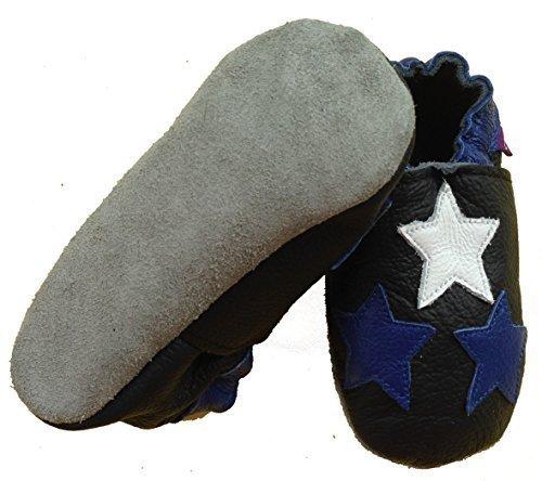 coolMYP©chromfreie Krabbelschuhe Baby Schuhe Lederschuhe ohne Chrom Lernlaufschuhe mit verschiedenen Motiven schwarz-3Sternen