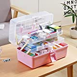 #3: KBF 3 Layers Portable Multipurpose Plastic Storage Box Travel Stationery Makeup Cosmetic Medicine Organizer Pill Medicine Box Medicine Storage Box Organizer with Retracteable Trays and Carry Handle Family Emergency Medical First Aid Kit Storage Box