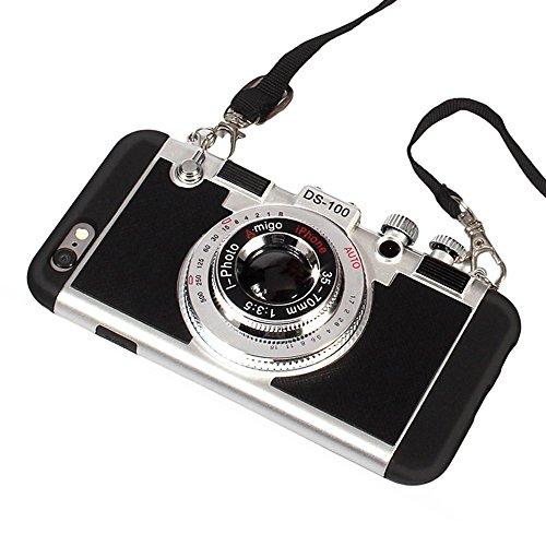iPhone 8 Hülle, iPhone 8 süße Hülle, 3D Einzigartiges Design Kamerahülle PC + Silikon stoßfest Hybrid Cover Case mit langem Band Band schwarz