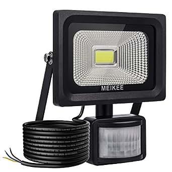 MEIKEE Faretto LED con sensore di movimento 10W, IP66 Proiettore LED esterno, Faro led esterni, illuminazione bianco freddo 6000K 1000LM, Lampada LED a basso consumo ene