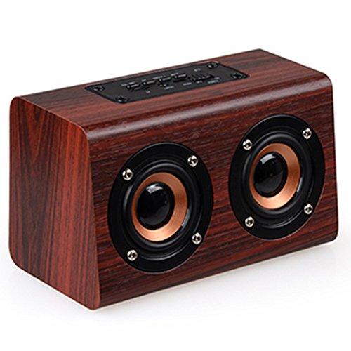 OPAKY Retro Holz HiFi 3D Dual-Lautsprecher Bluetooth-Lautsprecher für iPhone, Samsung usw.
