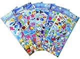 HighMount Happy Sea Creatures Stickers 6 Sheets with Angelfish, Sharks, Starfish, Hippocampus - Foam Ocean World Fish Stickers for Kids - 240 Stickers