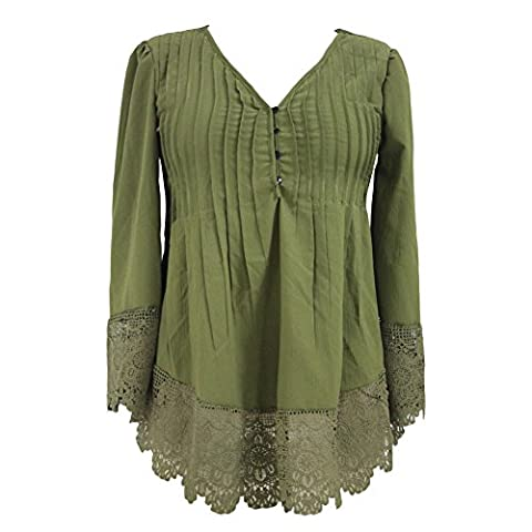 MEINICE Women's Lace Detail Button Up Sleeved