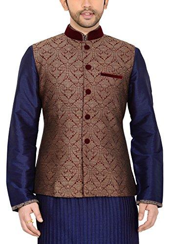 Manyavar Men's Banded Collar Blended Jacket (8903035324696_J952358-307 _40_Maroon)