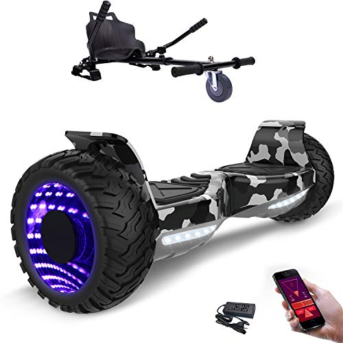8,5zoll SUV Bluetooth Hoverboard HummerElektro Scooter mit Off Road Reifen mit Hoverkart, Gokart, Sitzscooter, APP, Musik Lautsprecher