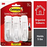 3M Command Large Plastic Utility Hook, White, 1-hook, 2-strips (17003ES), Pack of 3