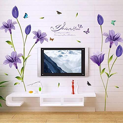 WandSticker4U- XL Wandsticker Blumen Lilien in lila   Wandbild: 160x85 cm   Wandtattoo Lliy Blüten Pflanzen Garten Wandaufkleber Deko für Wohnzimmer, Schlafzimmer, Küche, Garderobe, Flur