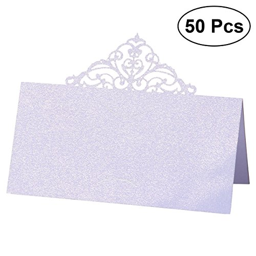 bestonzon 50pcs Place Card Holders - Das Geschäft mit Hollow Flower Wedding Place Card Table Party/Bankett/Veranstaltungen - Weiß