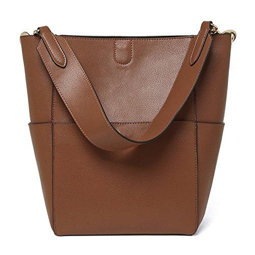 Mefly All-Match Leder Bucket Bag. Brown tuba