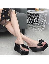 GTVERNH-Nouveau Style Pente Avec Les Pantoufles De Remorquage - Nœud Papillon Épais Été Bas Plate - Forme Des Sandales Antipatinage Chaussures Étanches Trente - Six Black