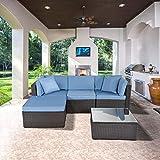 GOJOOASIS Polyrattan Lounge Sitzgruppe Gartenmöbel Garnitur Poly Rattan Couch-Set (211 cm Länge)