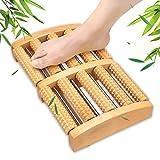 OTraki Massagefussroller 2 x 5 Rollen Fussroller Fersensporn Fußrolle Holz Fußrolle Massage für Fussmassage zur Anregung der Fußreflexzonen