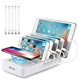 allcaca Charging Station Multi 5 Port with Wireless Charging Pad, Charging Dock Organizer