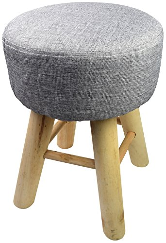 Spetebo Design Holz Hocker mit Bezug (Gepolstert) - Massiv Holz Sitzhocker - Polsterhocker Holzhocker Rund (Schwarz)