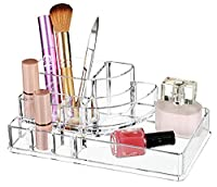 Boxalls Jewelry or Cosmetics Storage Display Box Acrylic Makeup Organizer with 8 Compartments Clear