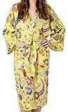 India Rose Robe de Chambre, Kimono, Peignoir de Bain, Robe de Demoiselle d'honneur en Coton Jaune pour Femme/Unisexe. 100% Coton Biologique. Sérigraphie à la Main. Taille Unique 42-46 (Jaune)