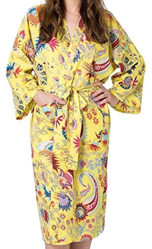 Gelber Kimono (India Rose Gelber Damen/Unisex Baumwoll- Bademantel, Kimono, Morgenmantel, Brautjungfernkleid. 100% Bio-Baumwolle. Handsiebdruck. Freizeit- und Hochzeitskleidung. Einheitsgröße für 36-44)