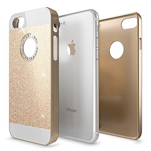 iPhone 8 / 7 Hülle Handyhülle von NICA, Glitzer Slim Hard-Case Back-Cover Schutzhülle, Handy-Tasche im Glitter Sparkle Design, Dünnes Bling Strass Etui Skin für Apple iPhone-7 / 8, Farbe:Weiß Gold