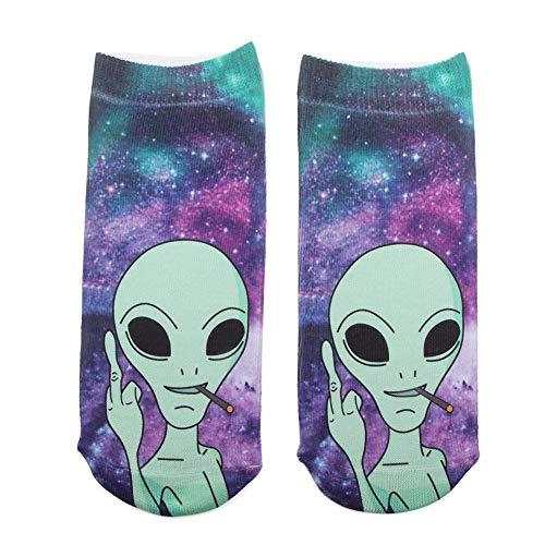 Frauen-Beiläufige Socken Lustig Print Söckchen Verrückte Aliens Kunst Niedlich Low Cut-Baumwollsocken Für (Niedlich Sportlich Halloween Kostüme)