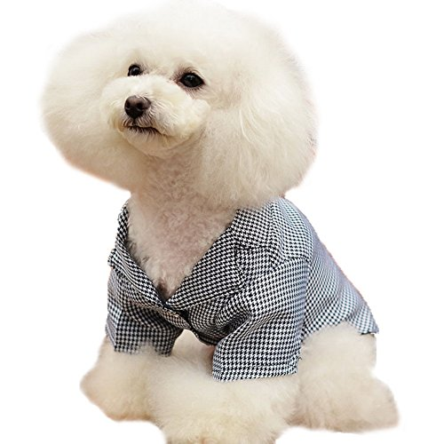 Dimart Comfortable Cute Cotton Classic Houndstooth Style Partern Pet Puppy Gown Shirt Dog Clothes Apparel Costumes for Little Dogs-Black, XXL (Black Apparel Dog)