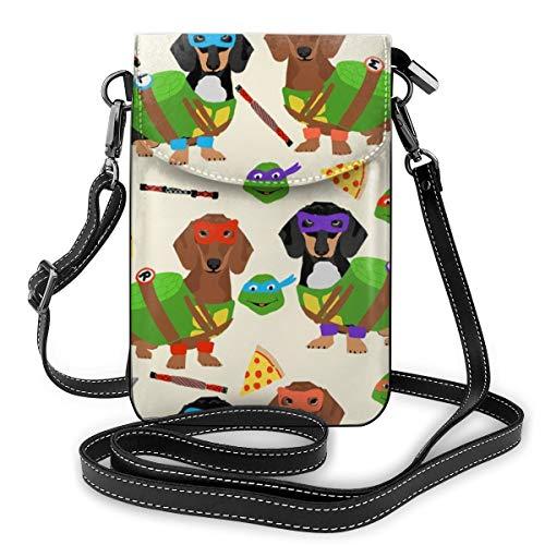 Kostüm Ninja Hunde - Dackel Ninja Hund Stoff Dackel Stoff Hund Stoff Ninja-Stoff Hund Kostüm Hund Kostüm Stoff Beige Cross Body Bag Handy Geldbörse Schultertasche Geldbörse Reise Geldbörse für Damen und Mädchen